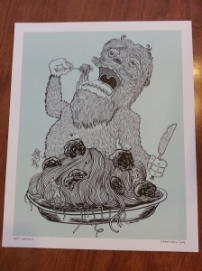 A hungry yeti devours a massive plate of spaghetti and meatballs, with lumberjacks and sheep clambering and leaping on the plate.