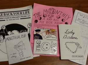Six menses and reproductive rights focused zines.