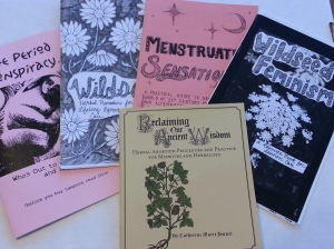 Five zines fanned out with titles: Period Conspiracy, Menstruation Sensation, Wildseed Feminism #1, Wildseed Feminism #2, and Reclaiming Our Ancient Wisdom.