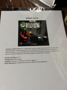 "Stats sheet for a game called ""Arkham Horror"" with image, summary, and information."