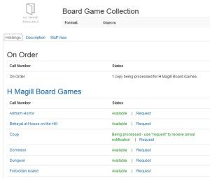 Screenshot of the online catalog record for the Board Game Collection, showing several individual games as separate holdings.