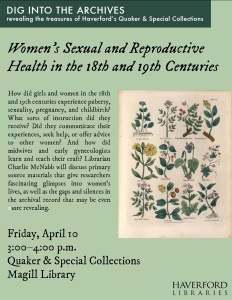 A flyer for the presentation with the title, abstract, location and time, and a reproduction of a page from Culpeper's Complete Herbal. Abstract is reproduced in full below.
