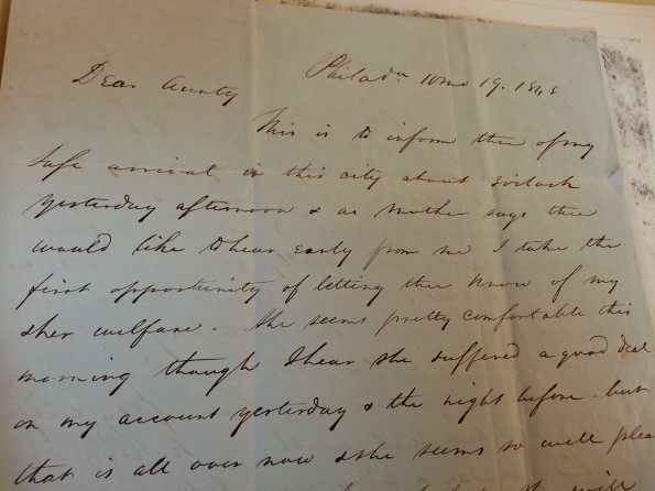 A letter written in cursive. Partial excerpt in caption.