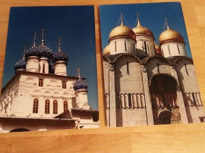 Two block-mounted photographs of Moscow architecture. Both appear to be churches and have onion domes.