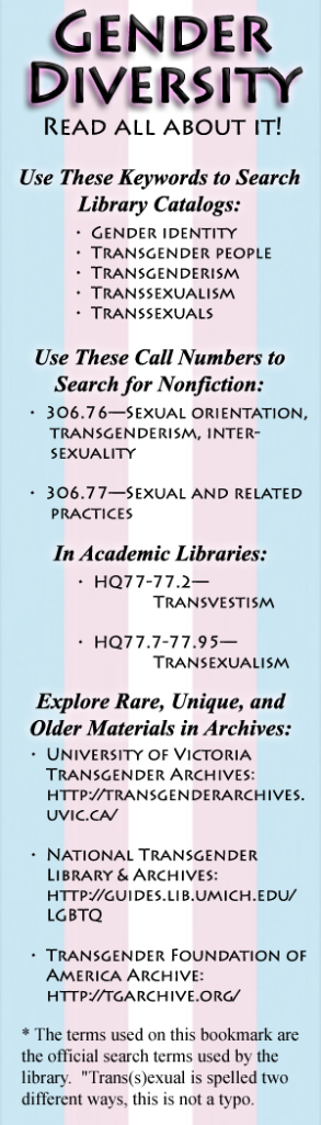 A bookmark with call numbers for trans-related library materials.