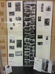 A closed glass case with a timeline of trans history, including photographs.