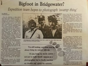 "Newspaper article with headline: ""Bigfoot in Bridgewater?"""