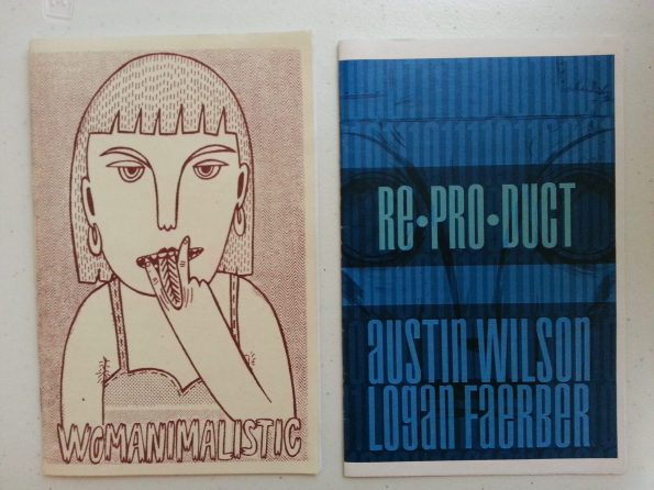 On the left, Womanimalistic zine with an illustration of a woman from the waist up. She is staring at the viewer with a raunchy expression and simulating cunnilingus with her tongue between two fingers. On the right, Re*Pro*Duct. Title and creators in large text with binary code running across. A robot face peers from behind.