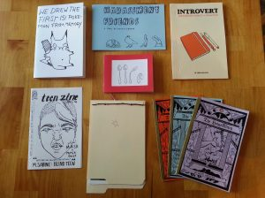 "Nine zines on a table. ""We Drew the First 151 Pokemon From Memory"" with a Pikachu; ""Harassment Friends"" with an armadillo, a crow, a weasel, and a rabbit; ""Introvert"" with an orange sketchbook and pens; ""Teen Zine"" with a sneering punk's face; ""Bending Spoons"" with four spoons getting progressively bent; ""Spot the Moment"" with a real twig tied on with yarn and a picture of a sun; and ""The Hedge Witch"" with a woman crushing something in a mortar and pestle, with two more zines fanned out beneath it."