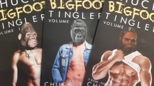 Three paperbacks featuring muscular male torsos with gorilla/bigfoot heads.